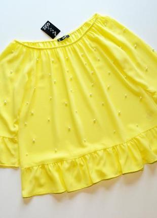 Нежная желтая блуза с с жемчужинами