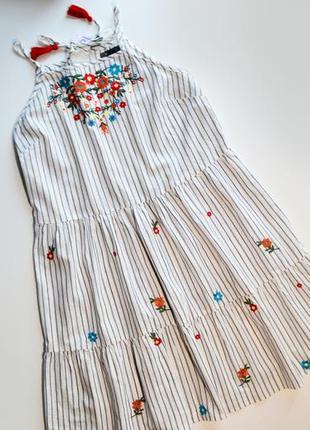 Летнее платье в полоску с вышивкой цветы сарафан хлопок