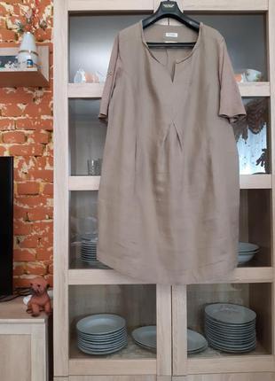 Суперовое льняное с карманами платье большого размера