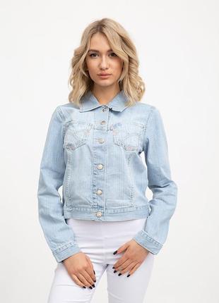 Джинсовая куртка жен  цвет голубой s-xxl размеры.
