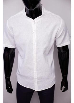 Рубашка мужская льняная porte ricco  батал короткий рукав белая
