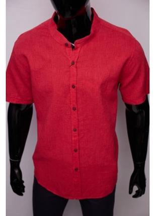 Рубашка мужская льняная porte ricco  батал короткий рукав красная