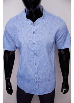 Рубашка мужская льняная porte ricco  батал короткий рукав синяя