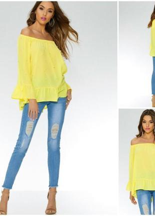 Нежная желтая блуза с  жемчужинами