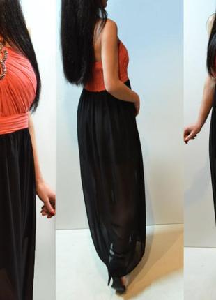 Шикарное длинное платье в камнях  черное