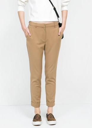 Классические испанские хлопковые бежевые брюки от zara basic