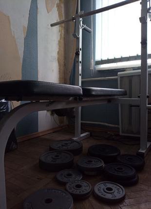 Блины металл KETTLER,FRANKA,стойка inter atletika ,гриф 90кг