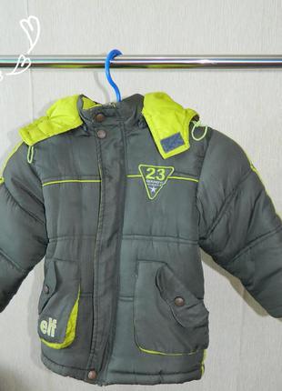 Куртка детская зимняя цвет хаки с с салатовым на мальчика 4-5 лет