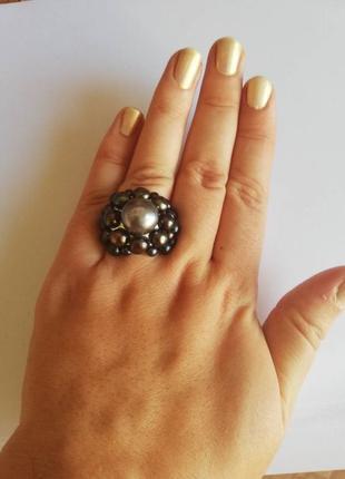 Шикарное кольцо, перстень, с натуральным черным жемчугом сереб...