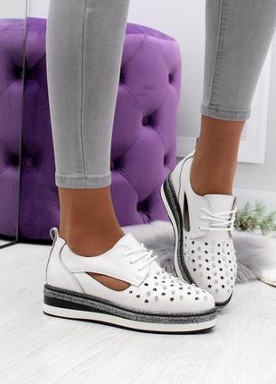 Новые женские кожаные белые туфли мокасины