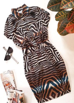 Платье-рубашка в анималистичный принт