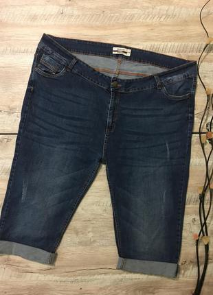 Джинсовые шорты с подворотом большого размера🌿супер-батал