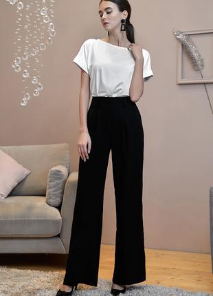 Женские широкие чёрные брюки на лето р 46