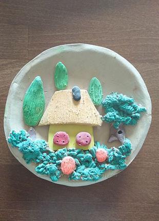 Декоративная тарелка Деревенский пейзаж