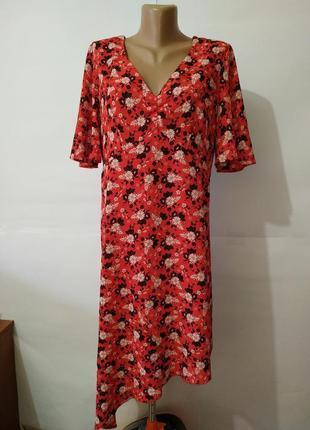 Платье миди привлекательное в цветы atmosphere uk 16/44/xl