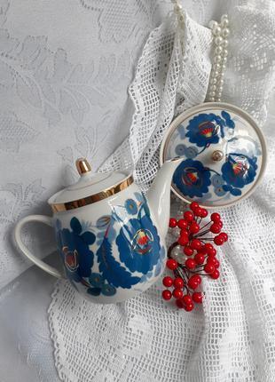 Чайный сервиз ссср полонное чайник и масленка фарфор ручная ро...