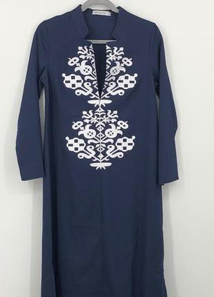 Длинное хлопковое платье кафтан/этно стиль