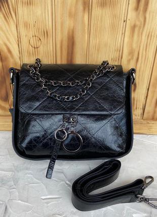 Женская кожаная лаковая сумка через плечо чёрная жіноча шкірян...