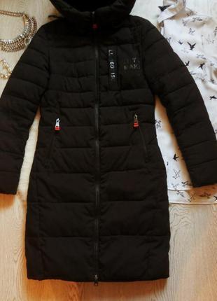 Черный длинный зимний пуховик пальто куртка с капюшоном карман...
