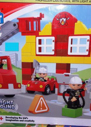 Конструктор JDLT 5153 Пожарная станция 69 деталей. Свет. Звук.