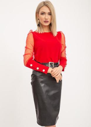 Красная 🔥блуза с рукавами в сетку