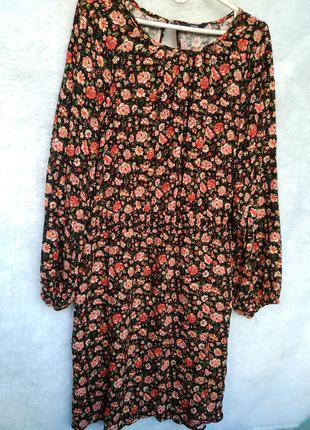 Вискозное платье в цветочный принт