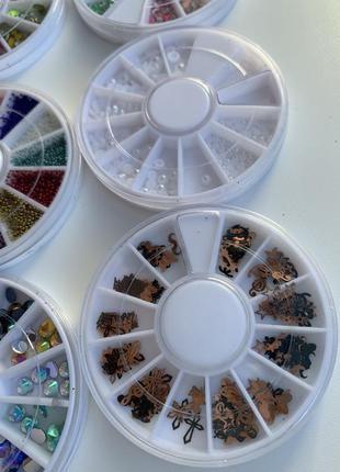 Набор, комплект для дизайна ногтей, блестки, стразы, жемчуг в ...