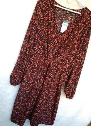 Платье в цветы с завязкой primark батал