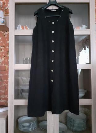 Суперовое льняное на пуговицах платье большого размера
