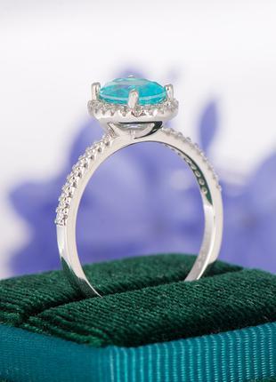 серебряное кольцо с редким камнем турмалин параиба