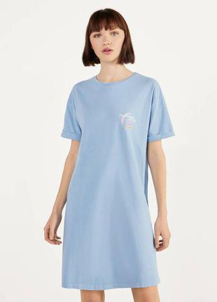 Платье -футболка oversize bershka