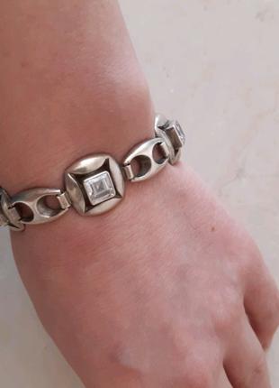 Серебрянный браслет с горным хрусталём