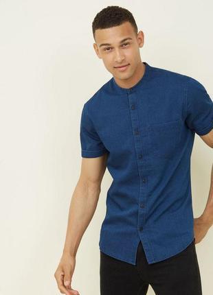Крутая джинсовая мужская рубашка, воротник стойка