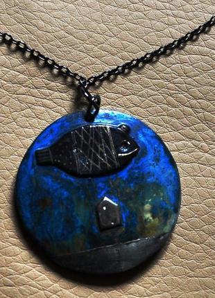 Стильное ожерелье цепочка медальон от дизайнера