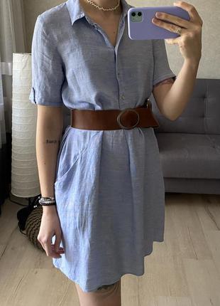 Натуральное платье рубашка под джинс zara со льном
