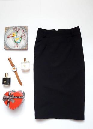 Класична плотна чорна спідничка з розпіркою  new look