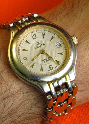 Механические швейцарские часы GROVANA с автоподзаводом. 25 камней