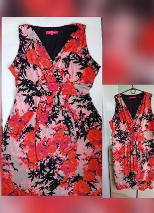 Трикотажное платье футляр миди батал красный сарафан на запах ...