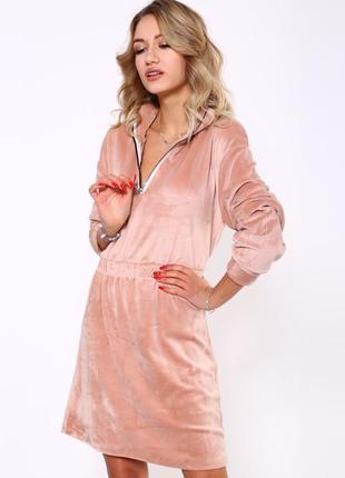 Пудра/персиковое 🍑 велюровое платье 😊