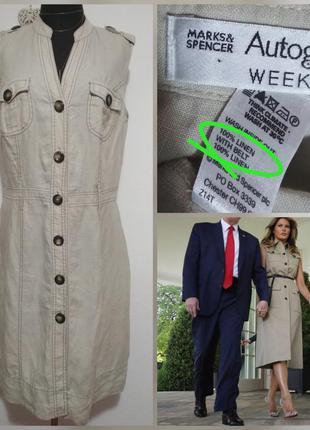 Фирменное натуральное базовое льняное платье миди с карманами ...