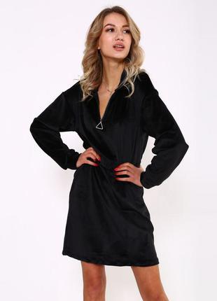 Чёрное 🖤 велюровое платье на замке