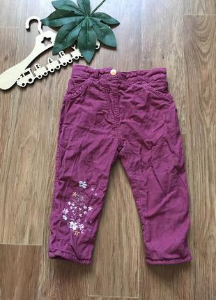 Крутые вельвет штаны брюки на подкладке george 9-12 мес