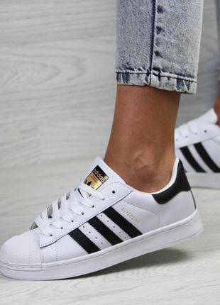 Шикарные женские кроссовки adidas superstar белые