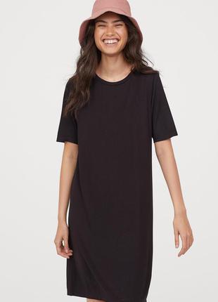 Актуальное платье-футболка длины миди h&m базовое черное плать...