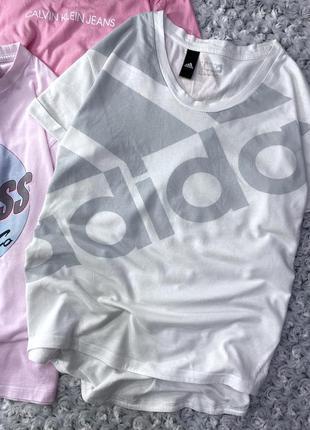 Хлопковая футболка с крупным логотипом adidas
