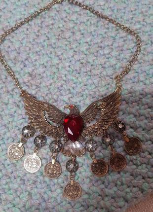 """Ожерелье """"орел"""" , красный камень"""