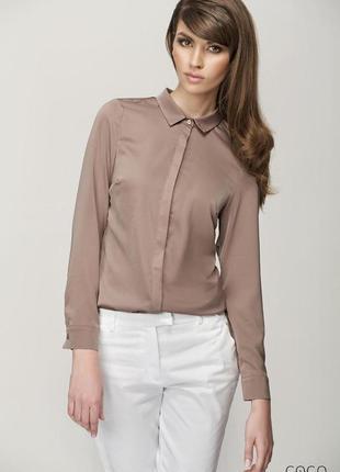 Оригинальная рубашка блуза h&m с отделкой на плечах цвета капу...