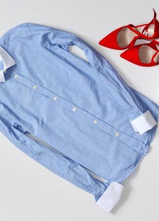 Стильная деловая,офисная приталенная рубашка под запонки