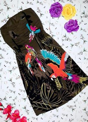 🎁1+1=3 стильное платье сарафан с попугаями h&m, размер 42 - 44