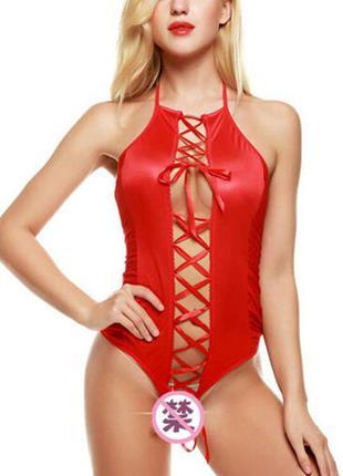 Арт. 036 боди бодик красного цвета на шнуровке – эротическое н...